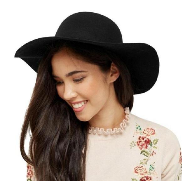 d757dc65a Black Wool Felt Wide Brim Panama Fedora Witchy Hat